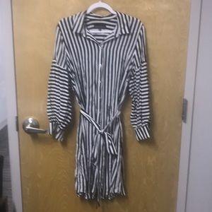 Eloquii black and white striped midi dress